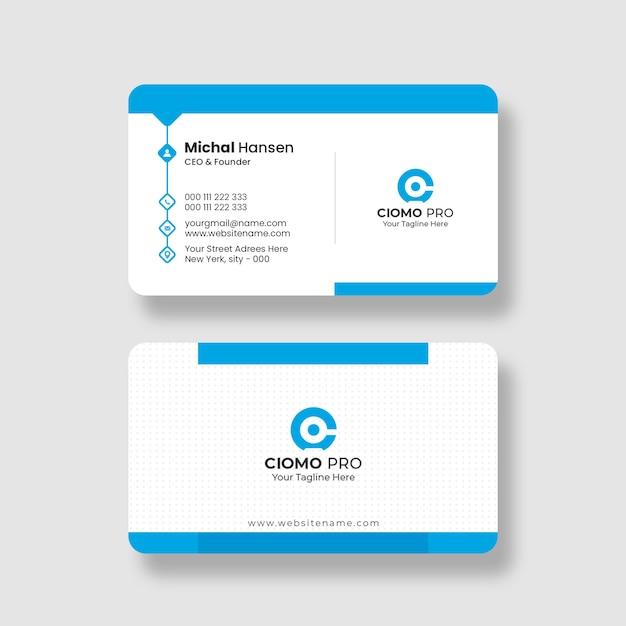 Чистый и синий шаблон визитной карточки Бесплатные Psd