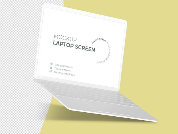 Clean floating laptop screen mockup template Premium Psd