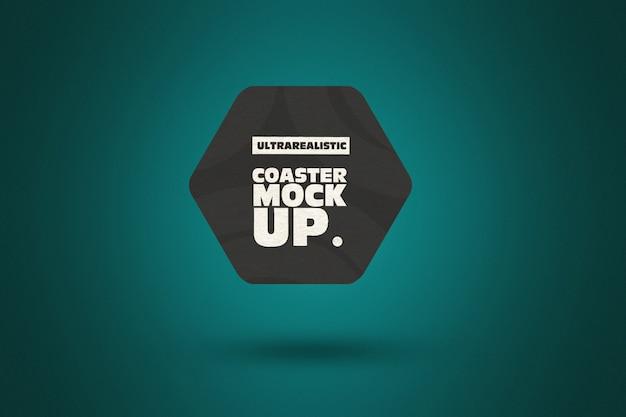 Clean hexagon coaster mockup Premium Psd