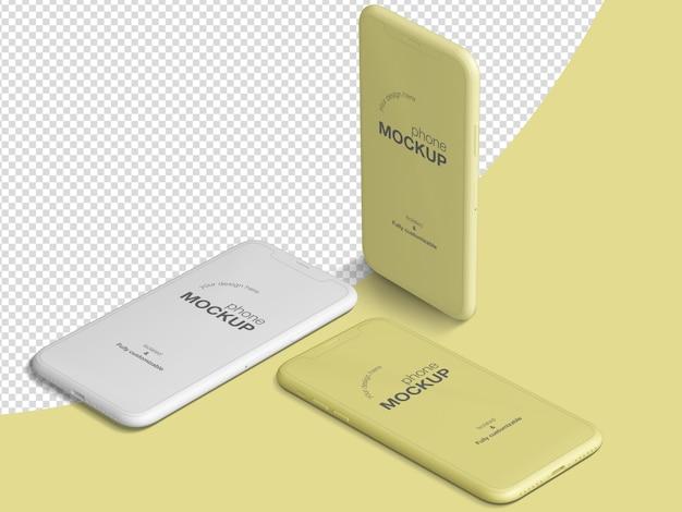 Чистый изометрический смартфон создатель макета сцены Premium Psd