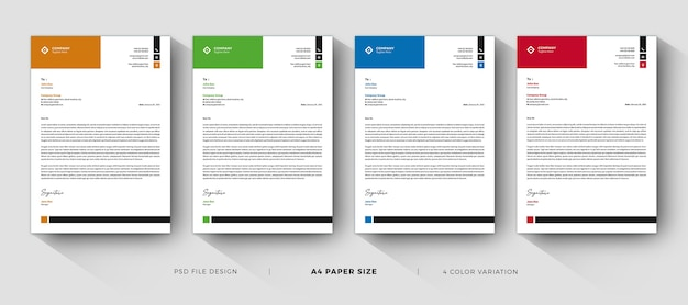 Clean letterhead templates professional and modern design Premium Psd
