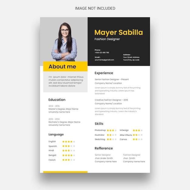 Clean & minimal resume or cv design template Free Psd