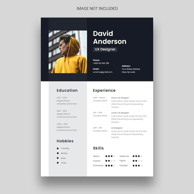 Clean & minimal resume or cv design template Free Psd