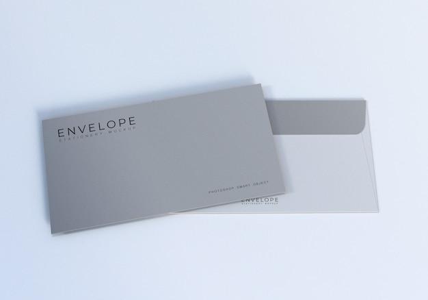 きれいなモナーク封筒モックアップデザインテンプレート Premium Psd