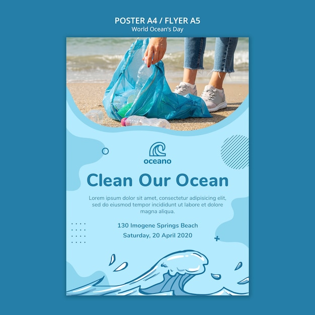 Clean our ocean poster template Free Psd
