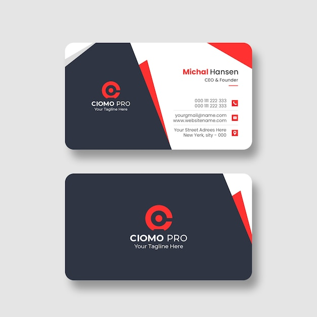 Чистый профессиональный шаблон визитной карточки Бесплатные Psd