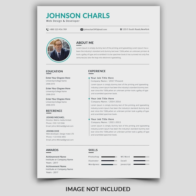 Clean professional resume template Premium Psd