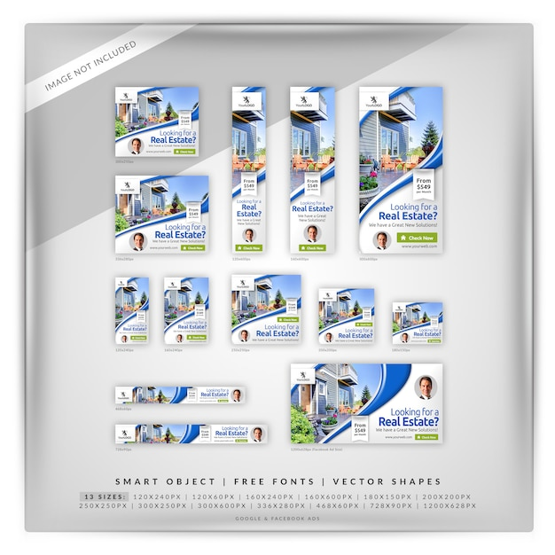 Clean real estate google & facebook ads Premium Psd