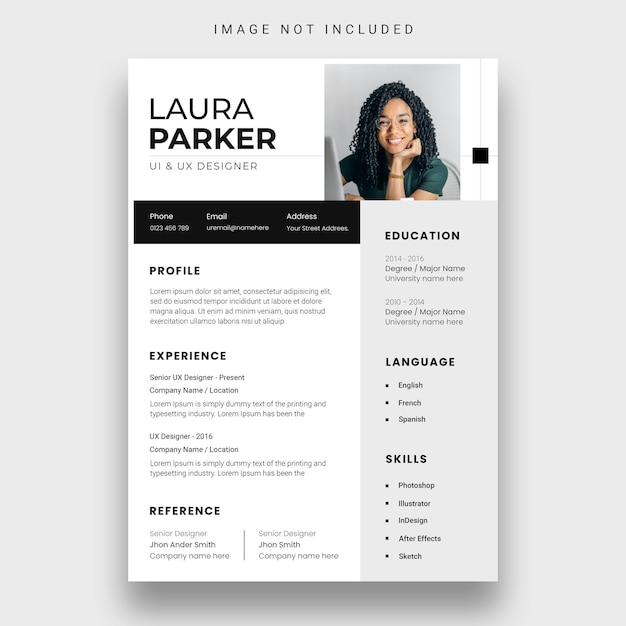 Clean resume or cv design template Free Psd