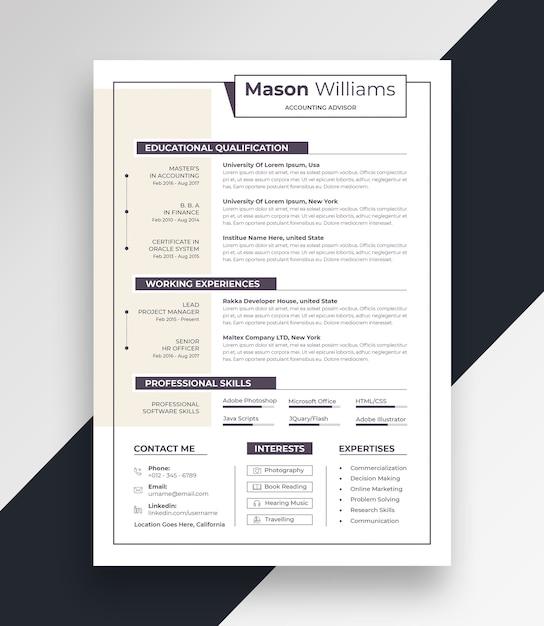 Clean resume cv template Premium Psd