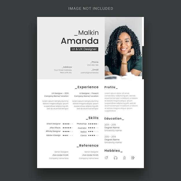 履歴書または履歴書のデザインテンプレートをクリーンアップ 無料 Psd