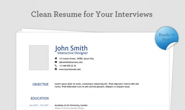 Clean Resume PSD Template Free Psd