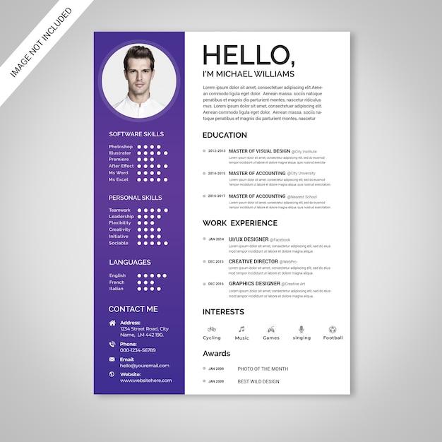 Clean resume Premium Psd