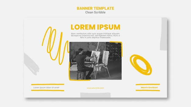 Clean scribble horizontal banner template with photo Free Psd