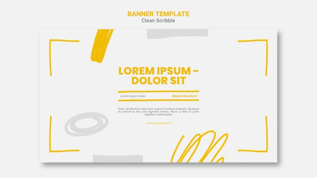 Чистый каракули горизонтальный баннер с фото Premium Psd