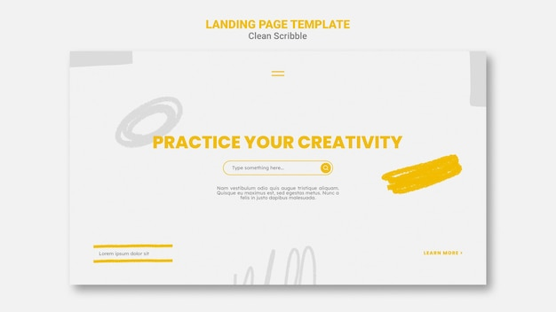 Clean scribble web template Free Psd