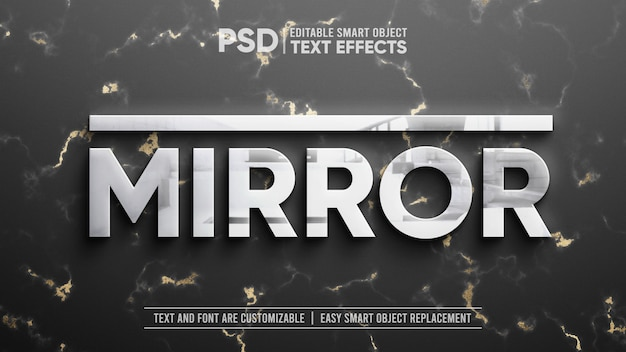 Clean silver with reflection on gold marble editable text effect mockup Premium Psd