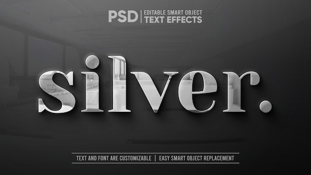 Clean silver with reflection on granite editable text effect mockup Premium Psd