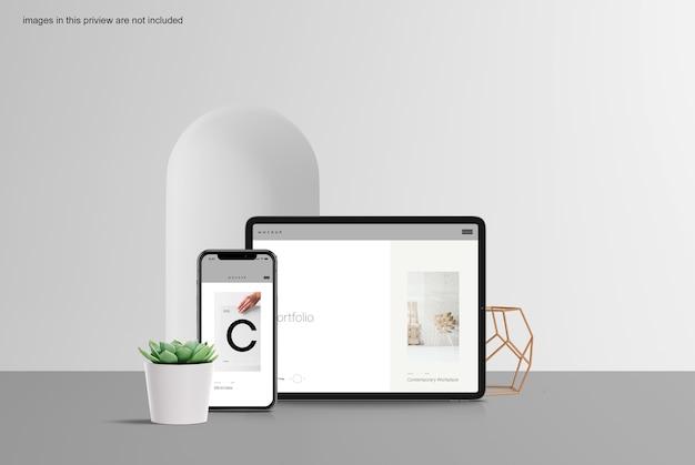 깨끗한 태블릿 및 스마트 폰 모형 무료 PSD 파일