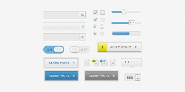 Clean ui elements Free Psd