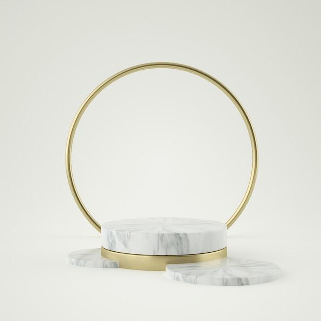 Чистый продукт из белого золота, золотая рамка, мемориальная доска, абстрактная минимальная концепция, пустое пространство, чистый дизайн, роскошь. 3d-рендеринг Premium Psd