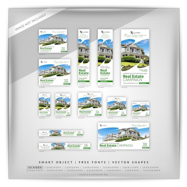 Clean white real estate google & facebook ads Premium Psd
