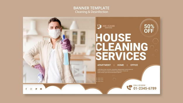 Cleaning and disinfection banner template Free Psd