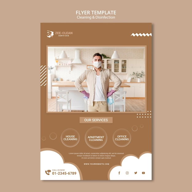 Cleaning and disinfection flyer template Free Psd