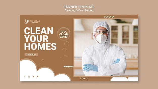 Modello di banner del servizio di pulizia e disinfezione Psd Gratuite