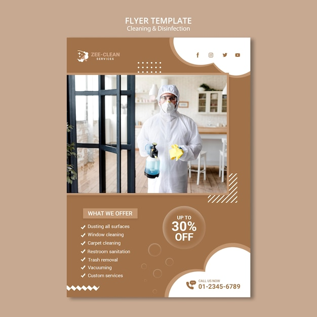 Cleaning and disinfection service flyer template Free Psd