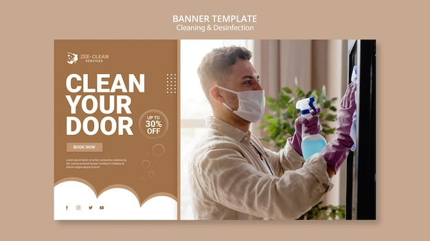 Cleaning and disinfection template banner Free Psd