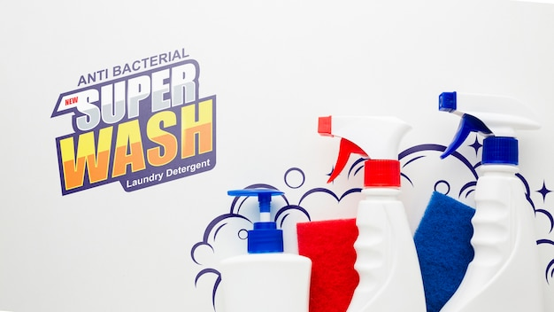 Cleaning mock-up with spray bottles Free Psd