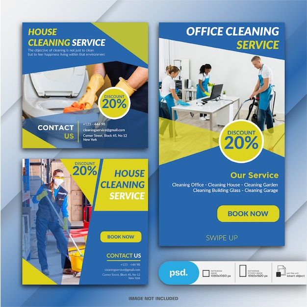 Cleaning service banner collection Premium Psd