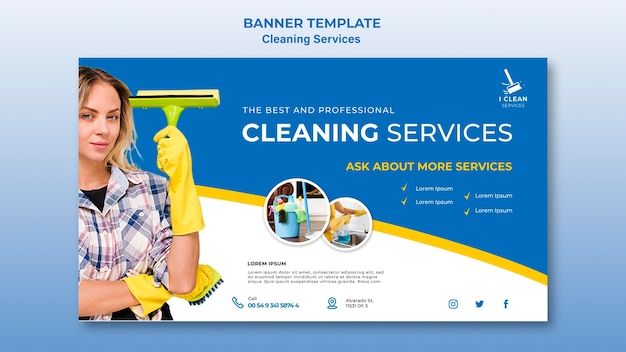 Cleaning service concept banner template Free Psd