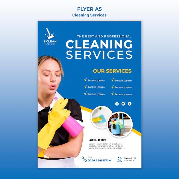Modello dell'aletta di filatoio di concetto di servizio di pulizia Psd Gratuite