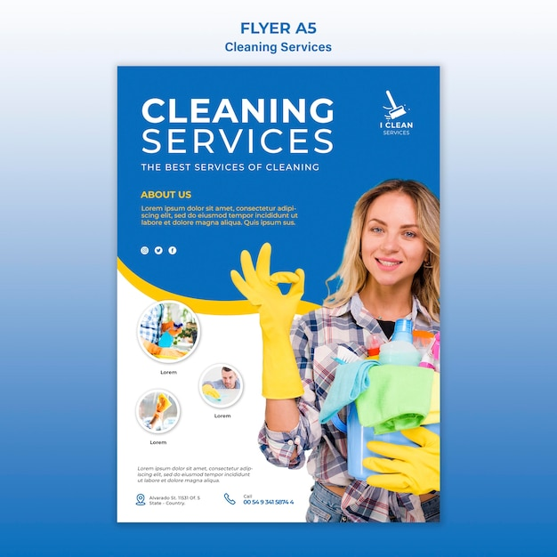 Cleaning service concept flyer template Free Psd