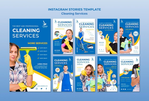 Cleaning service concept instagram stories template Free Psd