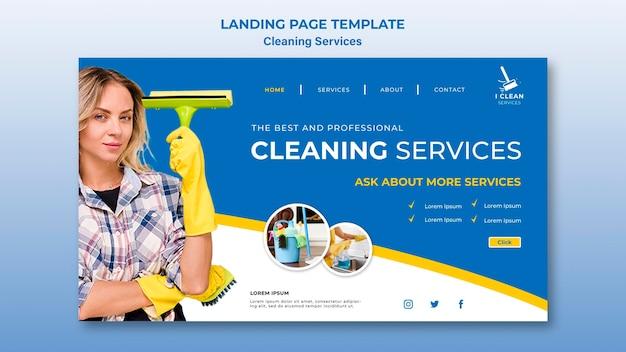 Modello della pagina di destinazione del concetto di servizio di pulizia Psd Gratuite