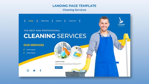 Cleaning service concept landing page template Free Psd