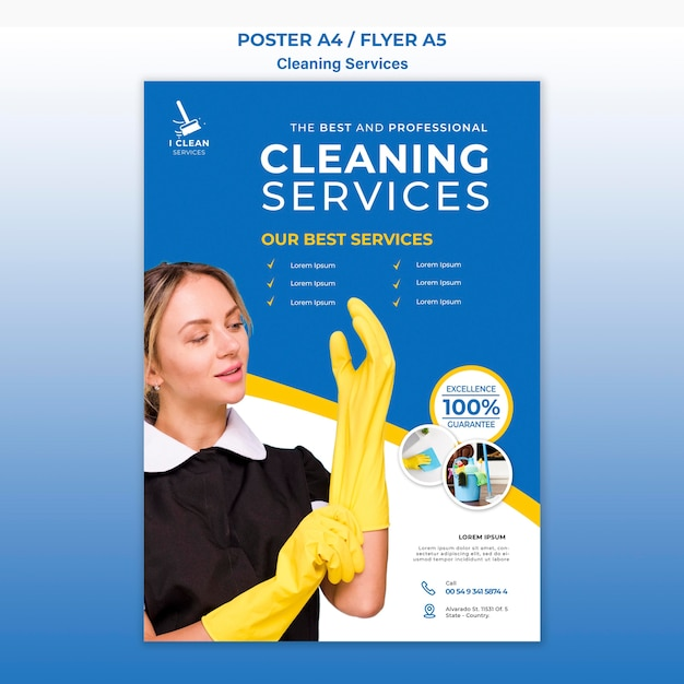 Cleaning service concept poster template Free Psd