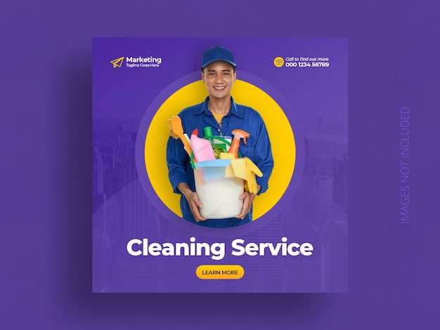 Cleaning service social media instagram post banner template Premium Psd