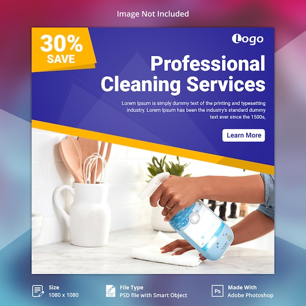 Cleaning services social media banner Premium Psd