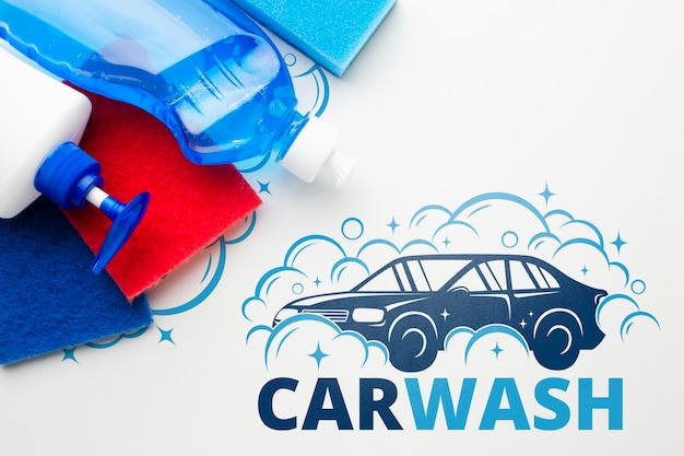 Cleaning tools with car wash concept Free Psd