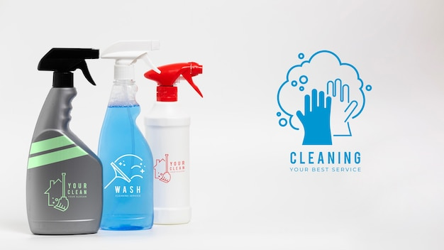 Cleaning your best service various containers of detergent Free Psd