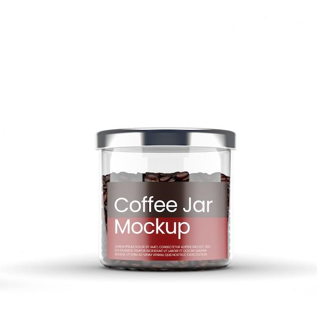 コーヒーモックアップ付きの透明なガラス瓶 Premium Psd