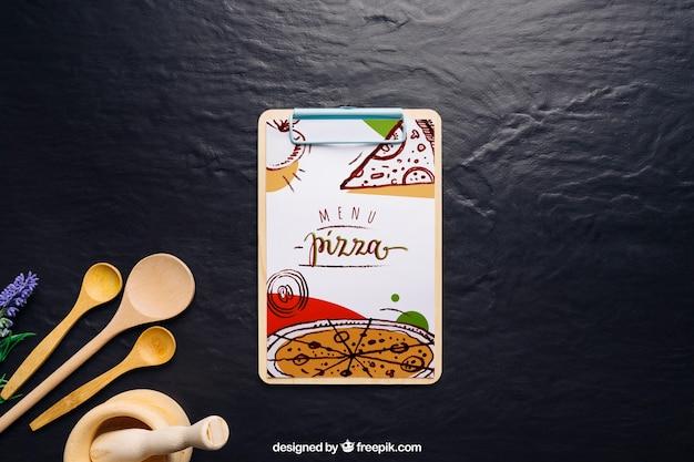 Mockup di scheda di clip con design di pizza Psd Gratuite