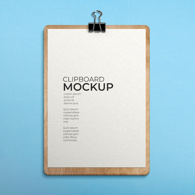 Clipboard on fabric surface mockup Free Psd