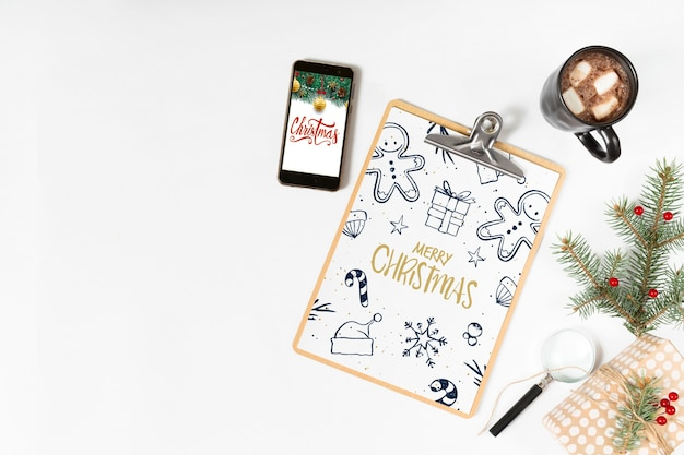 Clipboard mockup with christmas composition Free Psd