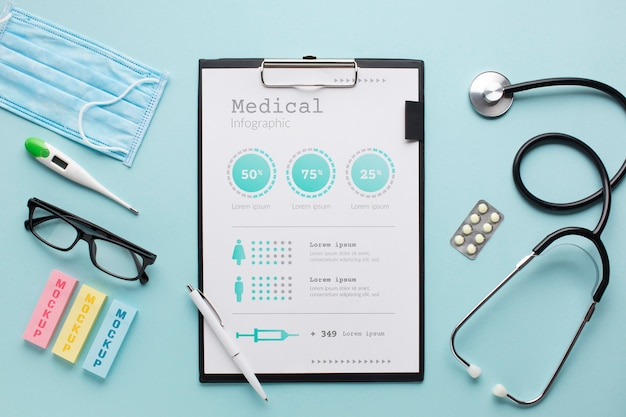 Clipboard with stethoscope with mask beside Free Psd