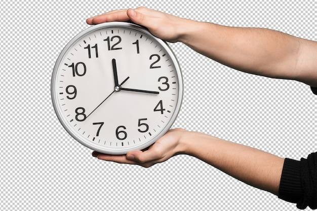 Clock over white background Premium Psd